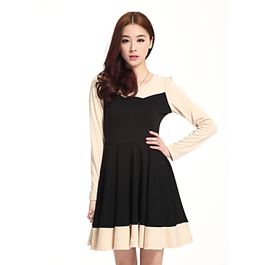 Women's Contrast Color Splicing Long Sleeve Pleated Sheath Mini Dress