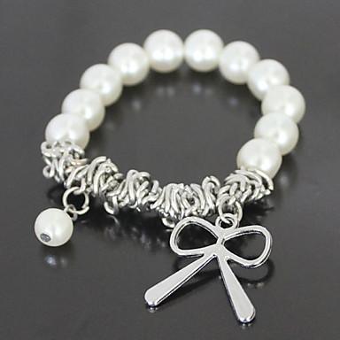 abordables Bracelet-Breloque Charms Bracelet Femme Perle Nœud Bracelet Bijoux Blanc pour Décontracté