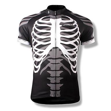 SPAKCT Bărbați Manșon scurt Jerseu Cycling Cranii Bicicletă Jerseu, Uscare rapidă, Respirabil Poliester