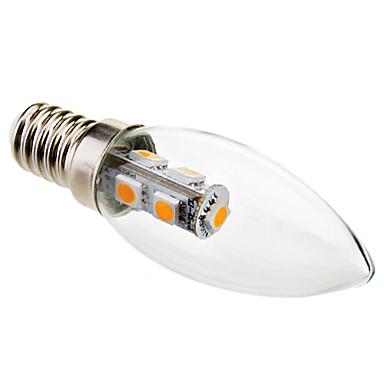 1W 50-100 lm E14 Becuri LED Lumânare C35 7 led-uri SMD 5050 Decorativ Alb Cald AC 220-240V