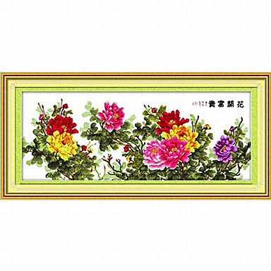 MeiAn DIY Unfinished Cotton Peony Pattern 11CT/Inch Stitch Embroidered Cloth Size: 201*89cm