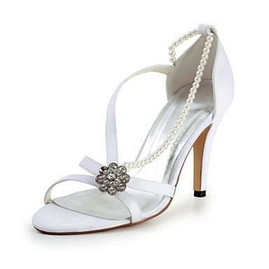 Charming Satin Stiletto Heel Sandals with Imitation Pearl and Rhinestone Wedding Shoes(More Colors)