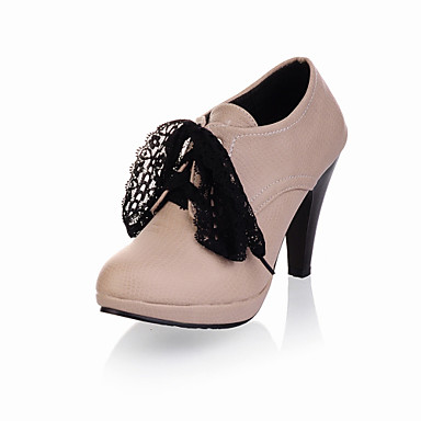 Women's Spring / Fall / Winter Fashion Boots Leatherette Office & Career / Casual Stiletto Heel Lace-up Black / Pink / Ivory