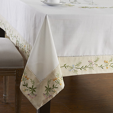 Mélange Poly / Coton Rectangulaire Nappes de table Fleur Décorations de table