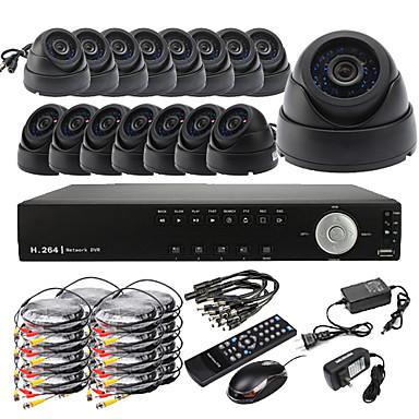 Ultra DIY 16CH D1 en tiempo real H.264 CCTV DVR Kit (16pcs 420TVL CMOS Cámaras Domo)