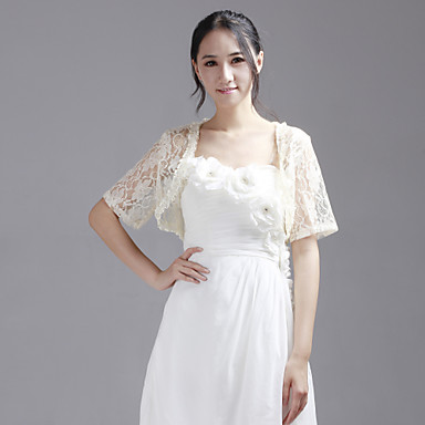 Wedding  Wraps Shrugs Short Sleeve Lace Champagne Party/Evening / Casual 30cm T-shirt Open Front