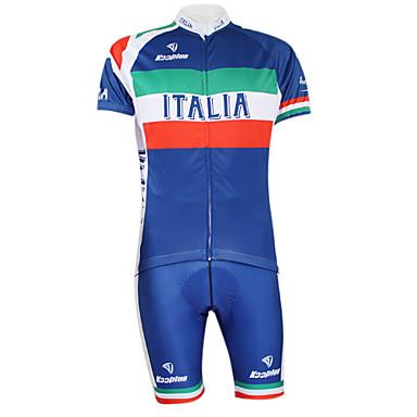 Kooplus Bărbați Pentru femei Manșon scurt Jerseu Cycling cu Pantaloni Scurți - Albastru Bicicletă Set de Îmbrăcăminte, 3D Pad, Uscare