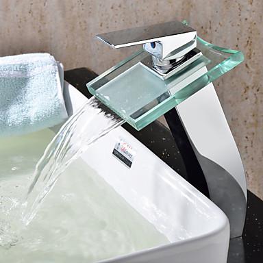Koupelna Umyvadlová baterie - Vodopád Pochromovaný Umyvadlo na desku S jedním otvorem Single Handle jeden otvor