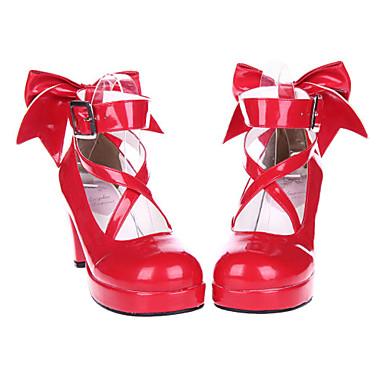 Ayakkabılar Sweet Lolita Bağcıklı Yüksek Topuk Ayakkabılar Fiyonk Düğüm 7cm CM Kırmzı Uyumluluk Rugan Deri