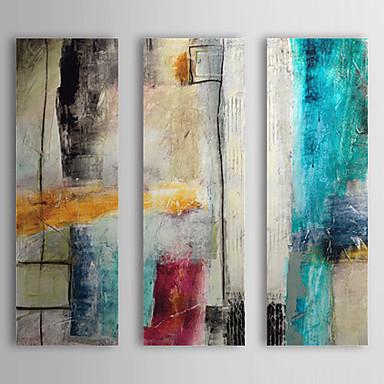 Pintura al óleo pintada a mano impulso abstracto con marco estirado tres paneles