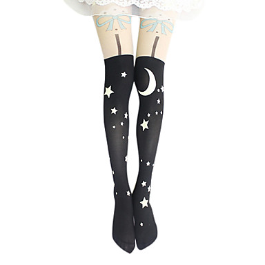 Oberschenkellange Socken Strümpfe / Strumpfhosen Klassische/Traditionelle Lolita Lolita Lolita Damen Lolita Accessoires Druck Sterne