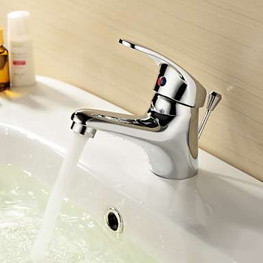 Çağdaş Tek Gövdeli Seramik Vana Tek Delik Tek Kolu Bir Delik Krom, Banyo Lavabo Bataryası
