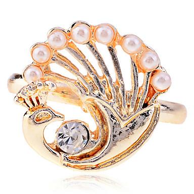 Lureme Alloy Pearl Gold podesivi prsten