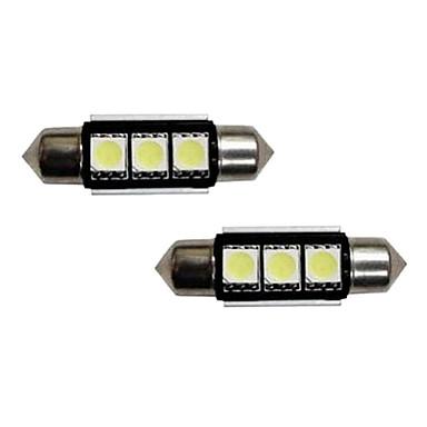 3-SMD fejlfri 6418 C5W LED pærer til europæiske biler License Plate Lights Xenon White