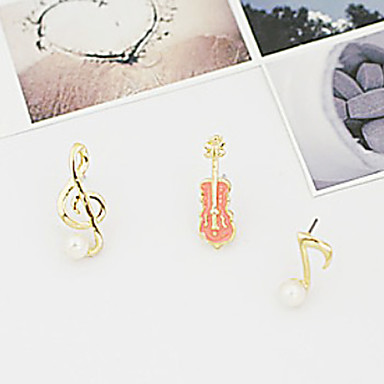 Stud Earrings Pearl Alloy Music Notes Jewelry Party Daily Casual