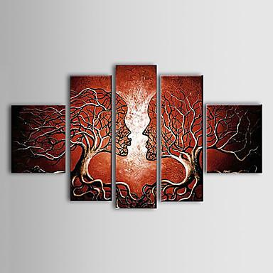 pintado a mano con pintura al óleo abstracta marco estirado - juego de 5
