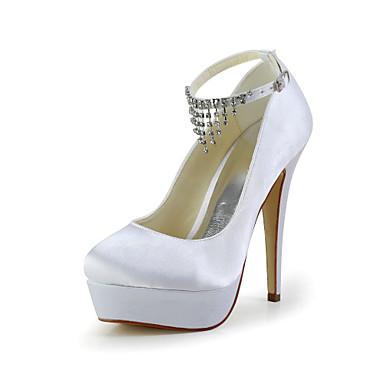 Pentru femei Pantofi Satin Satin Elastic Primăvară Vară Toc Stilat Platformă Cataramă pentru Nuntă Rosu Albastru Roz Maro deschis Cristal