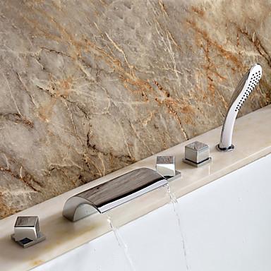 Lichtthebox Sprinkle® Badwannenarmaturen - Moderne Chrom Wasserfall / Verbreitete Fünf Löcher