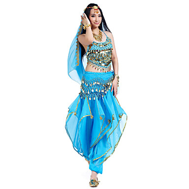 cheap Dancewear & Dance Shoes-Belly Dance Outfits Women's Performance Chiffon Beading / Sequin / Coin Sleeveless Top / Pants / Headwear
