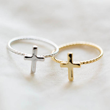 Dame Statement Ring Guld Sølv Legering Kors Mode Fest Kostume smykker