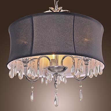elegant loftslampe med 3 lys i sort skygge