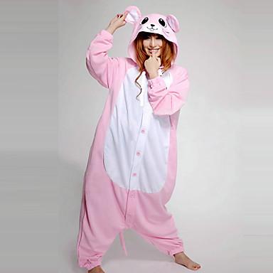 Kigurumi Pijama Mouse Onesie Pijama Kostüm Polar Kumaş Pembe Cosplay İçin Hayvan Sleepwear Karikatür cadılar bayramı Festival / Tatil