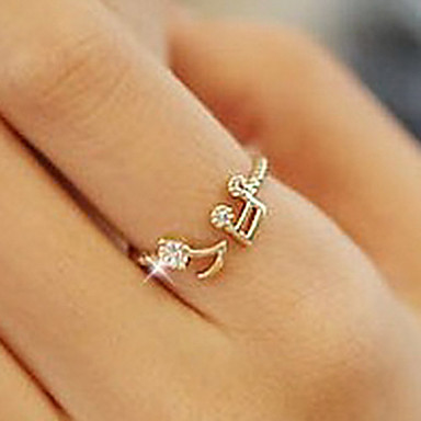 Women's Band Ring - Rhinestone, Alloy Music Notes, Love Cute, Open Adjustable Silver / Golden For Party / Daily / Casual