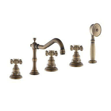 Antique Roman Tub Handshower Included Widespread Ceramic Valve Five Holes Three Handles Five Holes Antique Brass, Bathtub Faucet