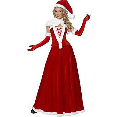 Cosplay Kostýmy Vánoční santa obleky Festival/Svátek Halloweenské kostýmy Sukně Rukavice Korzet Přehoz Klobouk Vánoce Dámské Samet