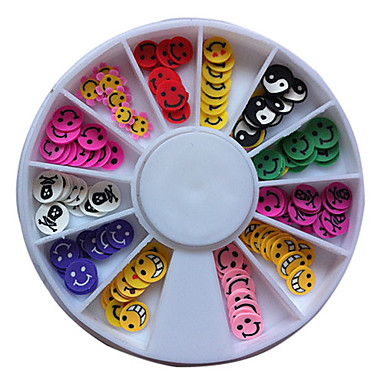 120PCS Mixed Pattern Colorful Smiling Face Fimo Slice Animal Nail Art Decoration