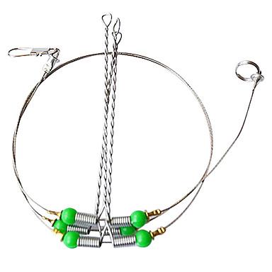 abordables Accessoires de pêche-3pcs pêche en acier inoxydable Chef de fil de Trace avec mousqueton (couleur aléatoire)