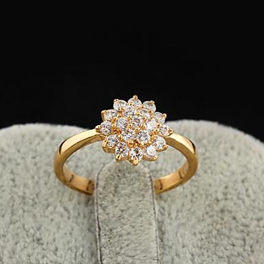 Yueli Women's 18K Gold Zircon Ring J1208