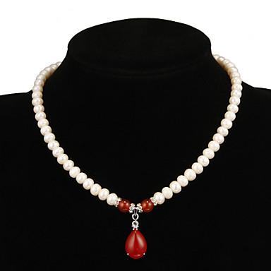 Damen Tropfen Blume Perle Perlenkette Y-Ketten  -  Weiß Modische Halsketten Für Party Besondere Anlässe Jahrestag