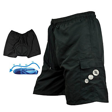 SANTIC Per uomo Pantaloncini imbottiti da ciclismo - Nero Tinta unica Bicicletta Pantaloncini Pantaloncini per MTB Pantaloni, Traspirante Pad 3D Asciugatura rapida / Tecniche avanzate di cucito