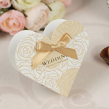 Herz Kartonpapier Perlenpapier Geschenke Halter mit Schleife Geschenkboxen