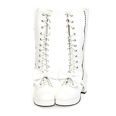 Lolita Shoes Sweet Lolita Dress Handmade High Heel Shoes Bowknot 6.5 CM White Black For PU Leather/Polyurethane Leather