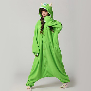 Kigurumi-Pyjamas Einäugiges Monster Pyjamas-Einteiler Kostüm Polar-Fleece Grün Cosplay Für Erwachsene Tiernachtwäsche Karikatur Halloween
