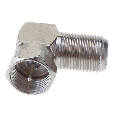 F Mies Plug-F Nainen Jack Right Angle Adapter Nickel 90 Degree Coaxial TV