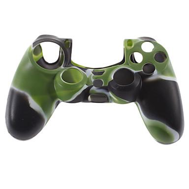 Silicon piele caz și 2 Mânere negru Stick Thumb pentru PS4 (Hunter Green)