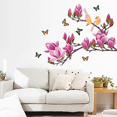 Purple Magnolia Flower Motýli samolepky na zeď