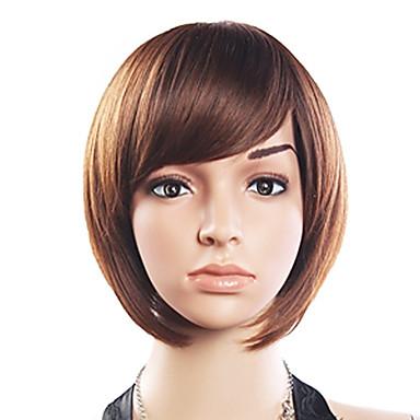 20% Human Hair 80% Syntetisk Varmeresistent Fiber Hair Side Bang Straight Short Wig