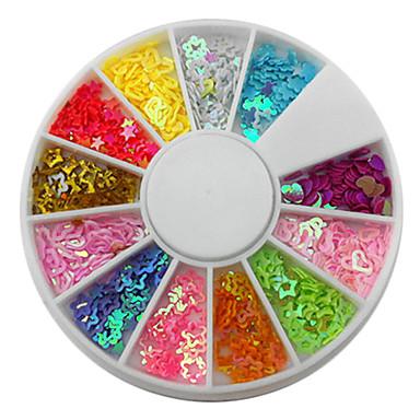 12-Color Hollow mixte în formă Loving stele Heart Nail Art Decoratiuni
