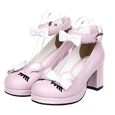 Schuhe Klassische / Traditionelle Lolita Stöckelschuh Schuhe Schleife 6.5 cm CM Schwarz / Gelb / Rosa Für PU - Leder / Polyurethan Leder Halloween Kostüme