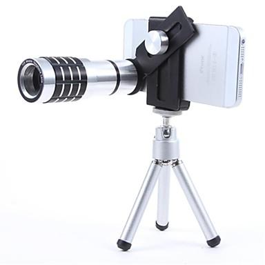 12X Mobile-Teleobjektiv mit Mini-Stativ und Universal-Metall clipfor Alle Handys - Schwarz + Silber