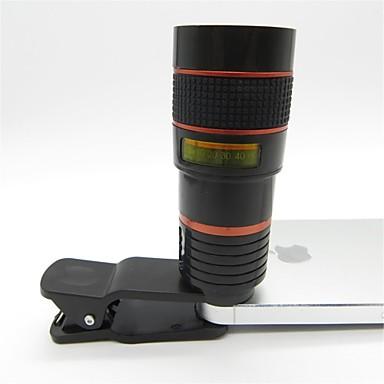 universelle 8x teleobjektiv med clips til mobiltelefon iphone samsung htc smart telefon rød + sort