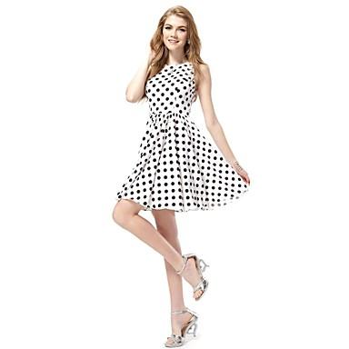 3fed6442be Stílusos, fekete-fehér pöttyös rövid nyári alkalmi ruha 1290706 2019 ...