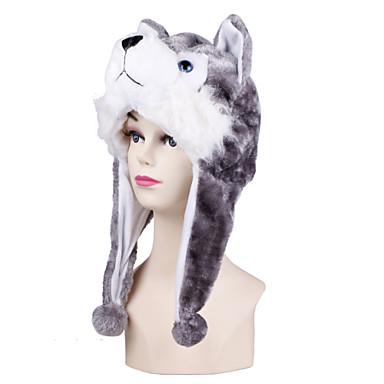 Pijama Kigurumi Husky Câini Pijama Întreagă Costume Blană Artificială Gri Cosplay Pentru Sleepwear Pentru Animale Desen animat Halloween