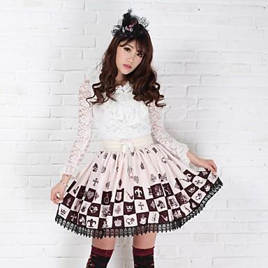 Skirt Gothic Lolita Sweet Lolita Classic/Traditional Lolita Princess Cosplay Lolita Dress Brown Print Sleeveless Medium Length Skirt For