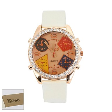 Personalizate cadouri pentru femei Brown Dial alb PU trupa Analog gravate ceas cu stras