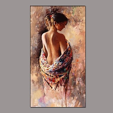 Oil Painting Hand Painted - People Classic Traditional Canvas
